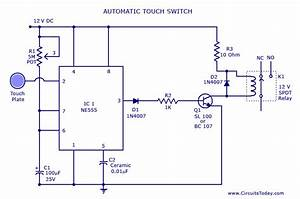 Touch Switch Circuit Diagram Using Ne 555 Ic