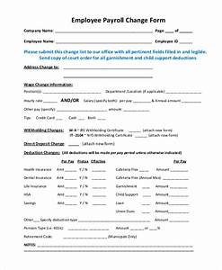 free payroll forms venturecapitalupdatecom With payroll change form template free