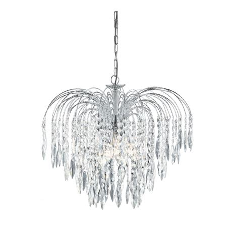 Cascading Chandelier by Waterfall Chrome And Cascading Chandelier On A Chain