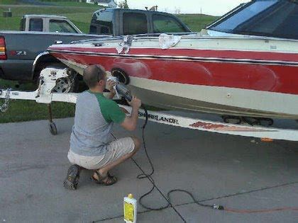 Sanding Aluminum Boat For Painting by Buffing Fiberglass Transom Repair