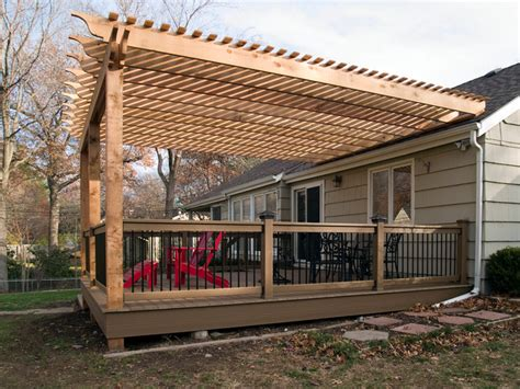 Building Pergola Over Deck by Boothe Cedar Pergola Over Composite Deck Traditional