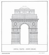 Delhi Gate Colouring Pages India Sketch Coloring Template sketch template
