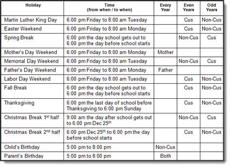 child visitation calendar template alabama custody and visitation schedule guidelines al