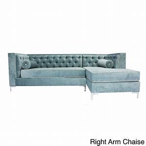 Decenni custom furniture 39tobias39 wedgewood blue tufted 8 for 7 ft sectional sofa