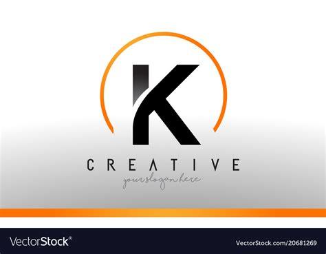 color k k letter logo design with black orange color cool vector image