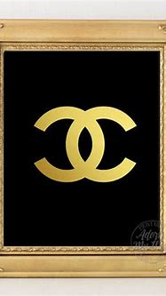 Chanel chanel logo coco cc gold print vintage by AdornMyWall