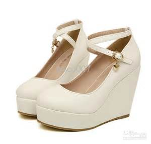 White Wedge Heels Shoes for Women