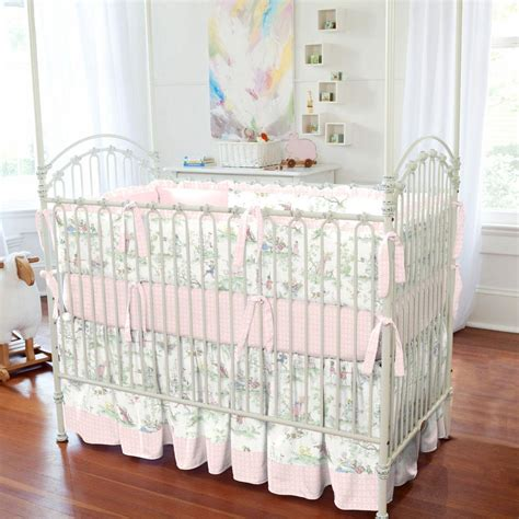 pink rocking chair cushion sets for nursery pink the moon toile crib skirt gathered carousel