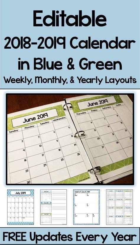 editable calendar blue green sherry school