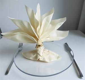 Pliage De Serviette En Tissu : pliage de serviette de table en forme de palmier ou arbre ~ Nature-et-papiers.com Idées de Décoration