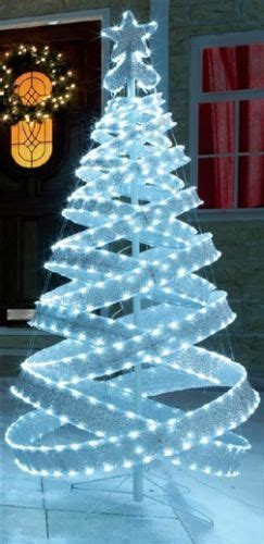 ft outdoor white silver pre lit pop  spiral christmas