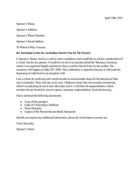 Re: Invitation Letter for Australian Tourist Visa for My