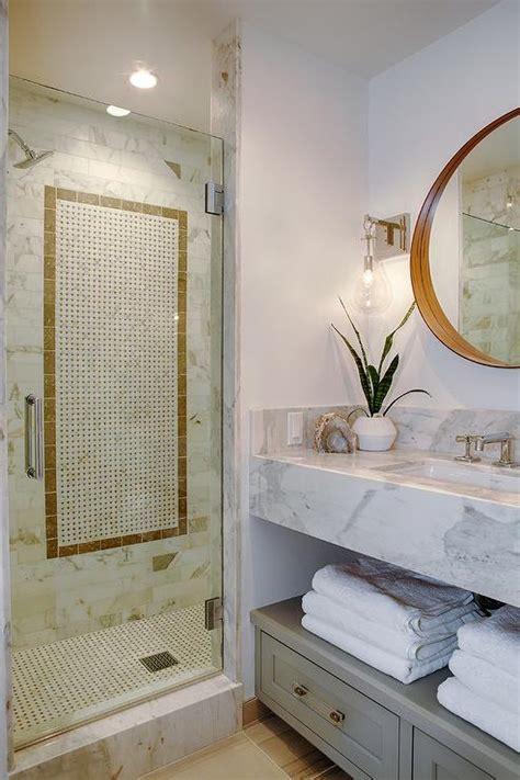 black  white chain accent border shower tiles transitional bathroom