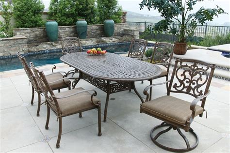patio furniture dining set cast aluminum 84 quot oval table