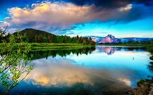 Lake, Mountains, Clouds, Sky, High, Contrast, Hd, Wallpaper