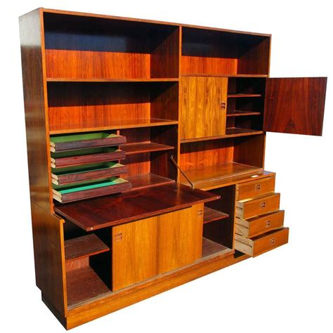 wall unit with desk vintage rosewood poul hundevad wall unit bookcase drop