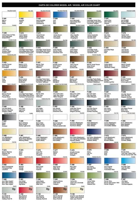 air colors vallejo model color chart images