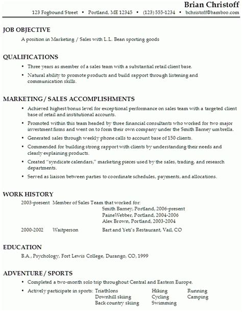 Retail Objective Resume Exles by Resume Objectives For Retail Best Resume Gallery