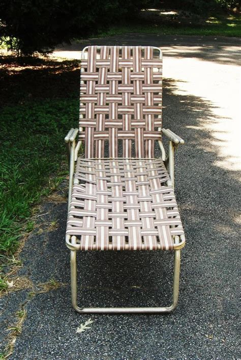vintage aluminum folding webbed chaise lounge lawn chair