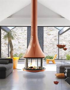 Round, Suspended, Fireplace, With, Glossy, Burnt, Orange, Finish