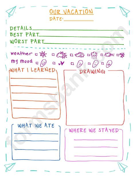 vacation journal entry template printable