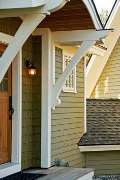 brackets   porch rooflove  craftsman details   man door   garage