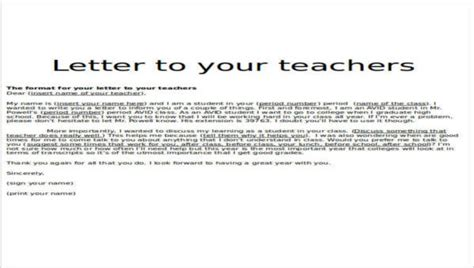 sample teacher   letters sample templates