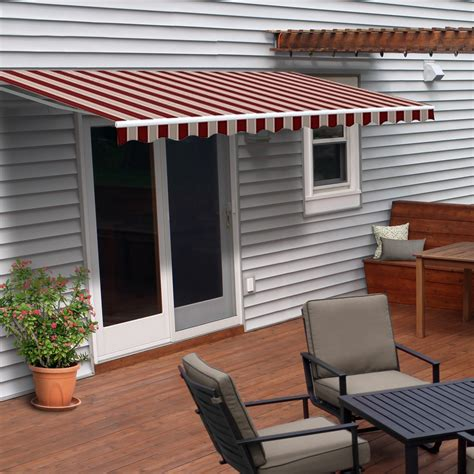 motorized retractable patio awning  feet multi striped red aleko