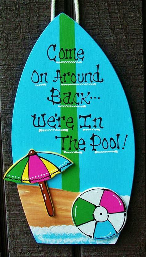 pool surfboard sign deck