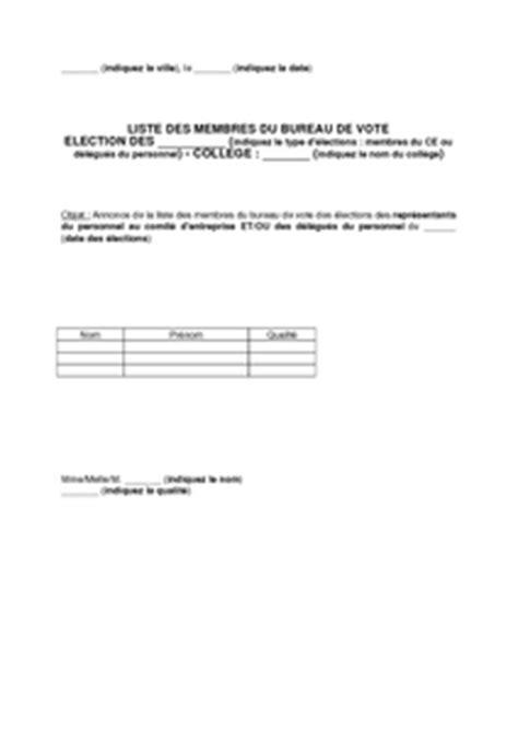 bureau de vote elections professionnelles mod 232 le de lettre de communication de la liste des membres du bureau de vote des 233 lections