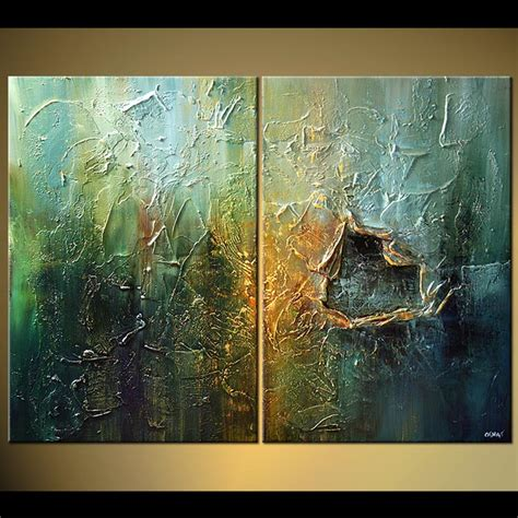 Buy Heavy Textured Painting Diptych Home Decor #5191