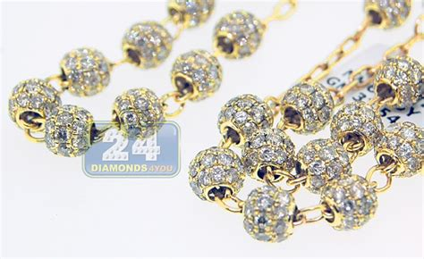 yellow gold  ct diamond mens rosary necklace