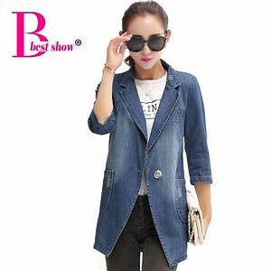 2018 Womens Denim Blazer Jackets 2015 Winter Women Clothing Casual Loose Outwear Suit One Button ...