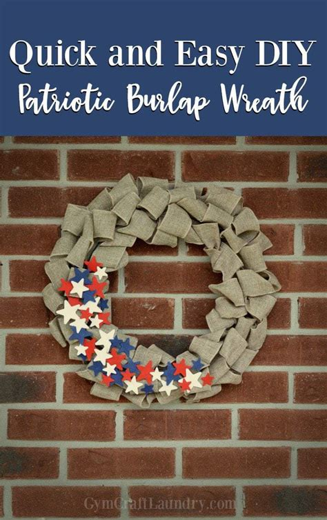 diy patriotic burlap wreath gym craft laundry