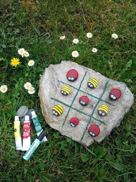 tic tac toe spiel mit steinen basteln kita ideen basteln mit kindern basteln und spiele mit