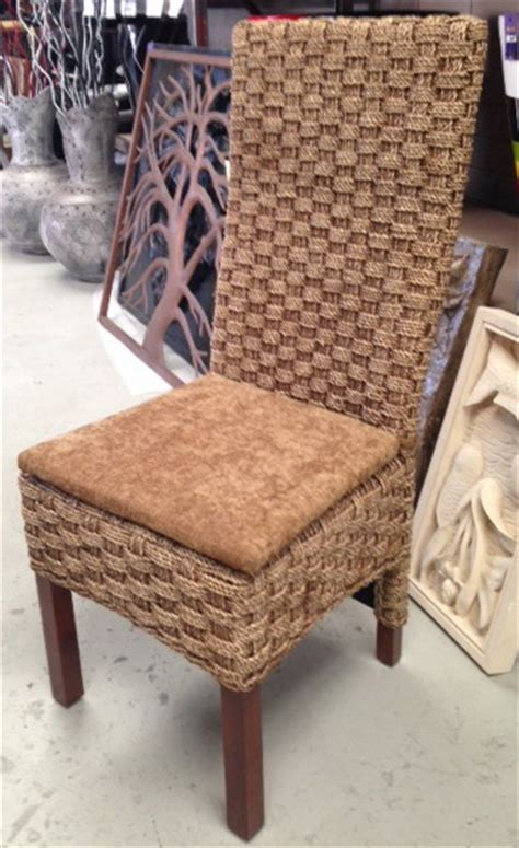 high back seagrass woven dining chair with cushion pot