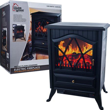 electric fireplace heater walmart warm house retro floor standing electric fireplace black