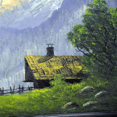 oil painting mountain landscape  cabin