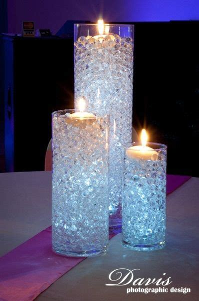water beads and floating candles event floral