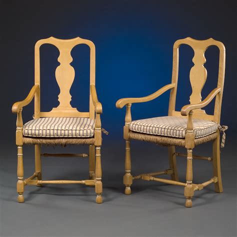 pair of pine arm chairs