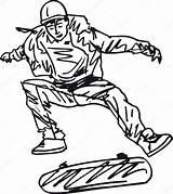 Skateboard Sketch Boy Illustration Vector Skateboarding Sketches Illustrations Template Depositphotos Boys Lego Kostenlos Ausmalbilder sketch template