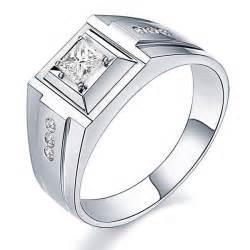 33 Carat Princess cut Diamond Mens Wedding Ring White Gold