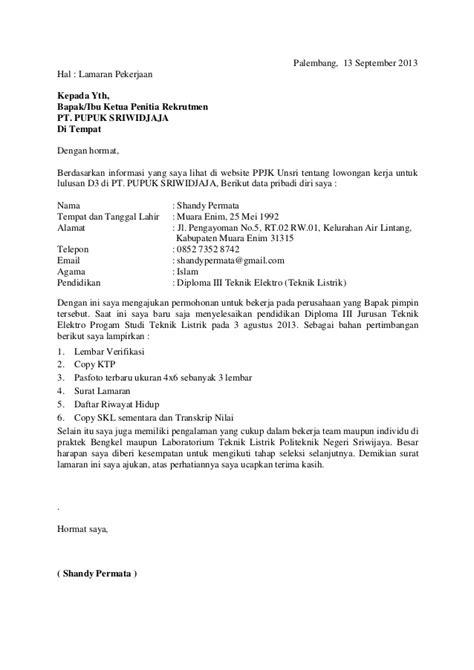 Contoh Surat Sakit Tulis Tangan by Surat Lamaran Kerja Pdf Ben