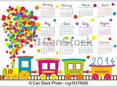2014 calendar with cartoon train vectors Search Clip Art