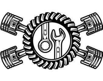 mechanic clipart black and white mechanic logo 3 piston wrench crossed engine car auto