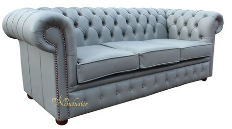 Grey Leather Settee by Chesterfield 3 Seater Sofa Settee Iron Grey Leather Sofa Offer