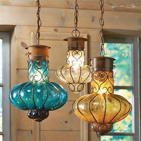 southwestern flower glass pendant lights