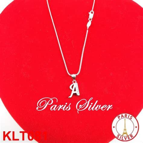 jual promo kalung liontin huruf nama inisial perak 925 silver lapis emas putih di lapak