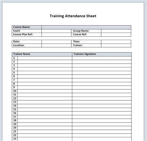 training attendance sheet 11 printable sles