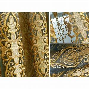 Blue and beige damask luxury embroidery curtains for Beige damask curtains